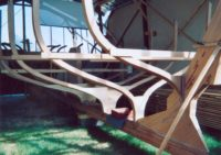 Frames assembled on keel and sternpost